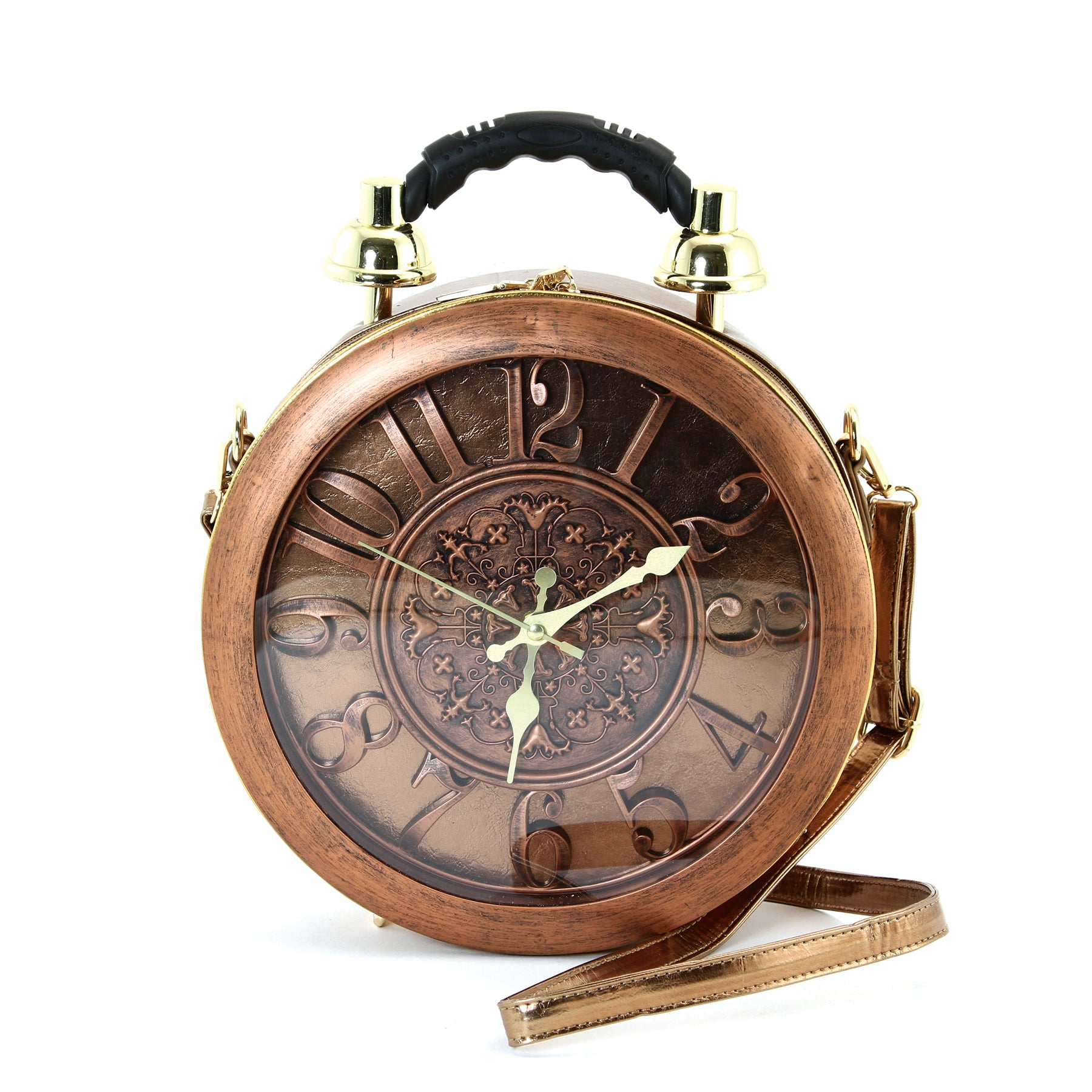 Antique Clock Bag in Vinyl Material front view