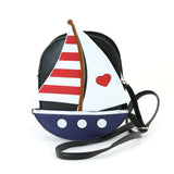 Sailboat American Flag Theme Cross Body Bag in Vinyl Material front view