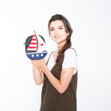 Sailboat American Flag Theme Cross Body Bag in Vinyl Material, on model front view