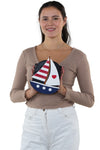 Sailboat American Flag Theme Cross Body Bag in Vinyl Material, front view, handheld by model