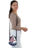 Sailboat American Flag Theme Cross Body Bag in Vinyl Material, shoulder bag style on model