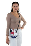 Sailboat American Flag Theme Cross Body Bag in Vinyl Material, crossbody style on model