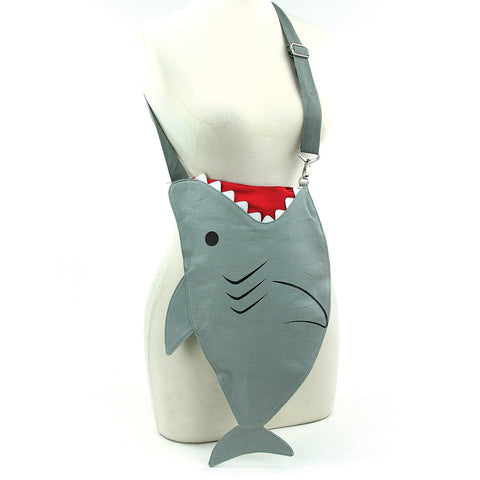 Sleepyville Critters - Shark Messenger Bag in Canvas Material front view