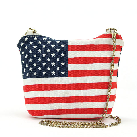 American Flag Crossbody Bag in Canvas with Chain Strap in Canvas Material front view