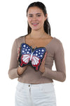 Americana Butterfly Crossbody Bag in Vinyl, front view, handheld by model