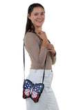 Americana Butterfly Crossbody Bag in Vinyl, shoulder bag style on model