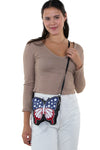 Americana Butterfly Crossbody Bag in Vinyl, crossbody style on model
