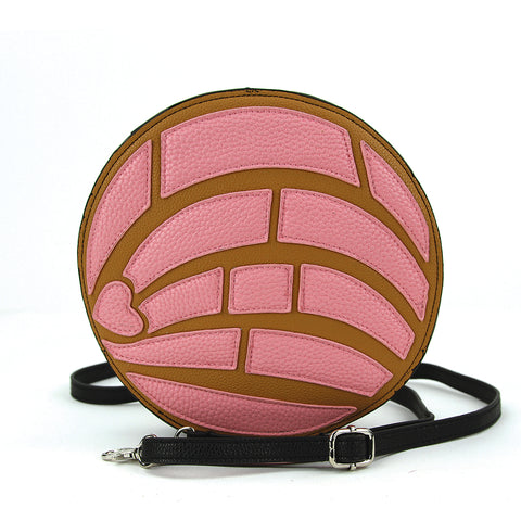 Pink concha cross body bag front view