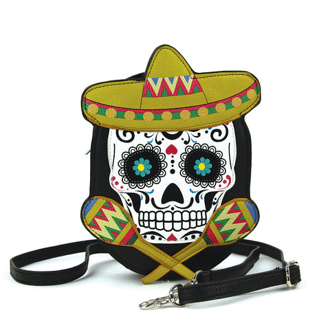 Sugar Skull Crossbody Bag in Vinyl front view