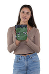 Sleepyville Critters - Frankenstein Crossbody Bag in Vinyl, handheld by model