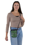 Sleepyville Critters - Frankenstein Crossbody Bag in Vinyl, crossbody style on model