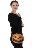 Sleepyville Critters - Pumpkin Two Faced Jack O Lantern Crossbody Bag in Vinyl Material, glittery side, crossbody style on model