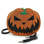 Sleepyville Critters - Pumpkin Two Faced Jack O Lantern Crossbody Bag in Vinyl Material, glitter side, front view