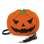 Sleepyville Critters - Pumpkin Two Faced Jack O Lantern Crossbody Bag in Vinyl Material, plain side, front view