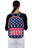 Stars and Stripes Backpack in Vinyl, backpack style on model