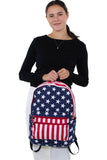 Stars and Stripes Backpack in Vinyl, front view, handheld by model