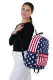 Stars and Stripes Backpack in Vinyl, side view, backpack style on model