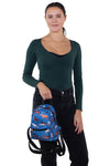Running Horses Mini Backpack in Polyester Material, front view, handheld by model