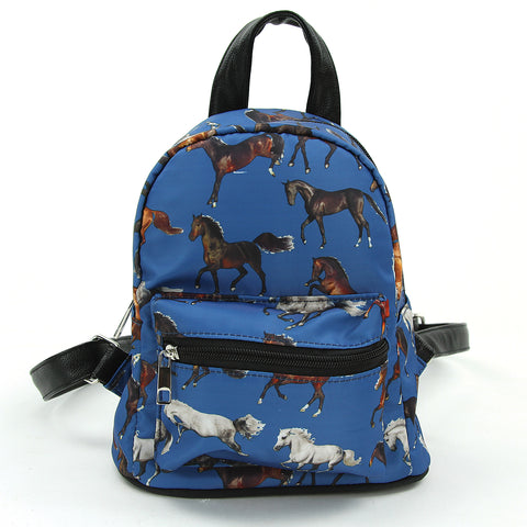Running Horses Mini Backpack in Polyester Material front view