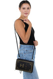 Book of Wealth Book Clutch Cross Body Bag in Vinyl Material, shoulder bag style on model