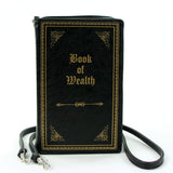 Book of Wealth Book Clutch Cross Body Bag in Vinyl Material front view