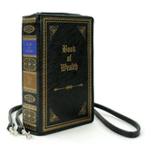 Book of Wealth Book Clutch Cross Body Bag in Vinyl Material side view
