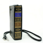 Book of Wealth Book Clutch Cross Body Bag in Vinyl Material spine view