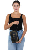 Book of Wealth Book Clutch Cross Body Bag in Vinyl Material, wristlet style on model