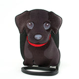 Sleepyville Critters - Black Labrador Cross Body Bag in Vinyl Material front view