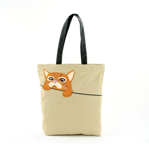 Peeking Tabby Tote Bag in Canvas Material front view