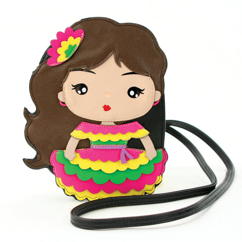 Senorita Cross Body Bag in Vinyl Material front view