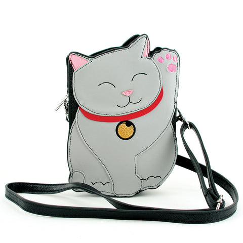 Lucky Grey Cat Cross Body Bag in Vinyl Material front view