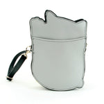 Lucky Grey Cat Cross Body Bag in Vinyl Material back view