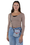 Lucky Grey Cat Cross Body Bag in Vinyl Material, crossbody style on model