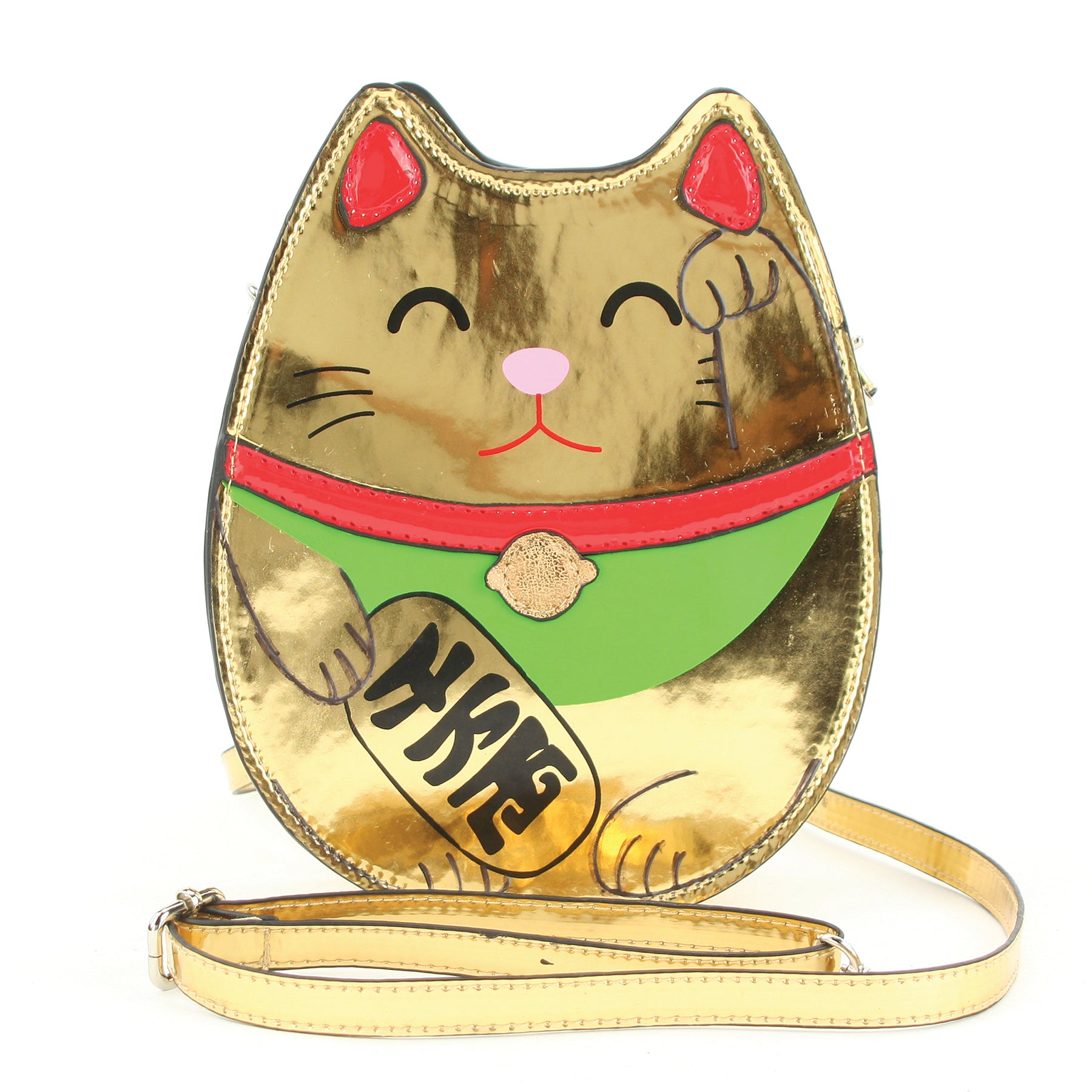 Golden Lucky Cat Cross Body Bag in Vinyl Material front view