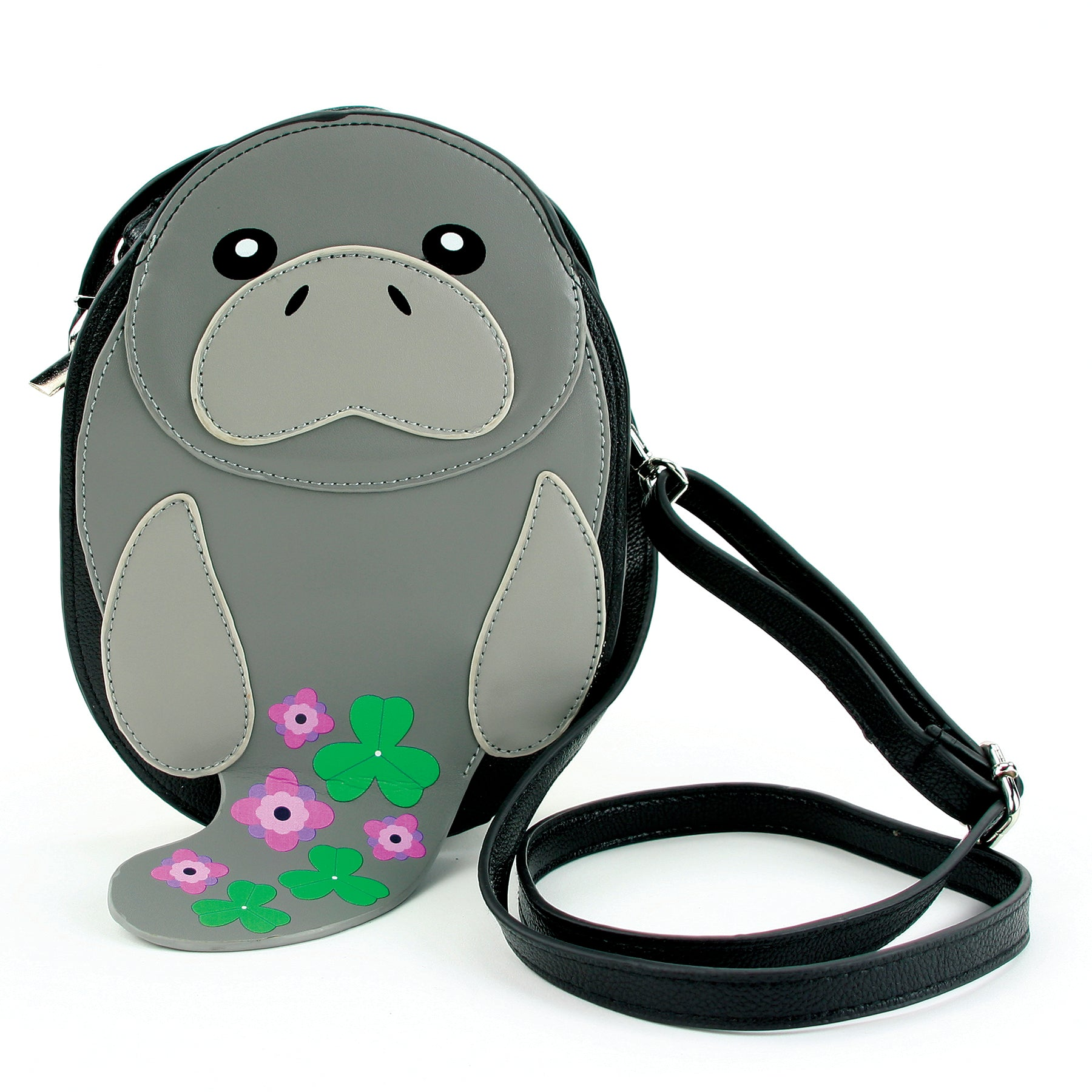 Manatee Cross Body Bag in Vinyl Material front view