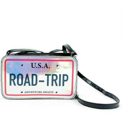 Road Trip Cross Body Bag in Vinyl Material front view