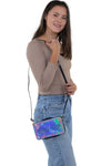 Road Trip Cross Body Bag in Vinyl Material, shoulder bag style on model