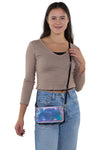 Road Trip Cross Body Bag in Vinyl Material, crossbody style on model