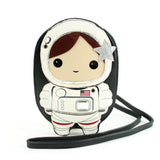 Sleepyville Critters - Space Astronaut Girl Cross Body Bag in Vinyl Material, brown color, front view