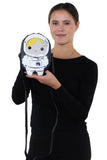 Sleepyville Critters - Space Astronaut Girl Cross Body Bag in Vinyl Material, gold color, handheld by model