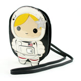 Sleepyville Critters - Space Astronaut Girl Cross Body Bag in Vinyl Material, gold color, front view