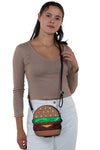 Glittery Hamburger Cross Body Bag in Vinyl Material, crossbody style on model