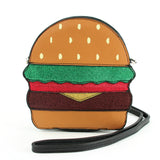 Glittery Hamburger Cross Body Bag in Vinyl Material front view