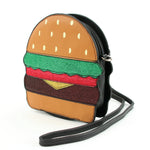 Glittery Hamburger Cross Body Bag in Vinyl Material side view