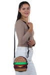 Glittery Hamburger Cross Body Bag in Vinyl Material, shoulder bag style on model
