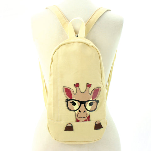 Peeking Giraffe Body Sling Bag/Backpack in Canvas, backpack style front view