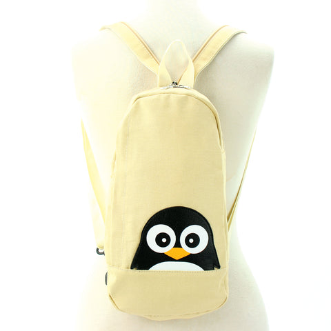 Peeking Penguin Body Sling Bag/Backpack in Canvas, backpack style front view