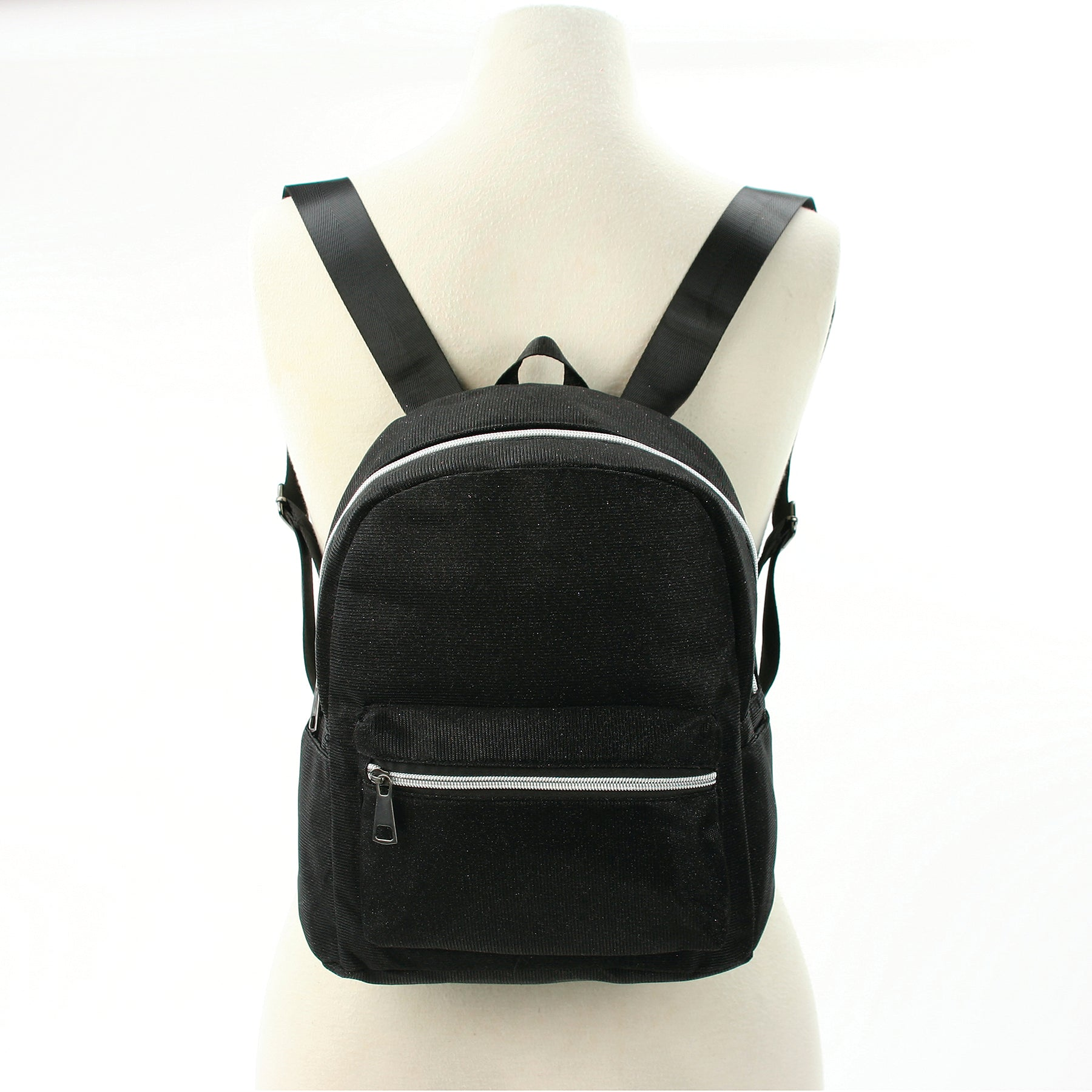 Mini Sparkly Backpack in Polyester, black color, front view