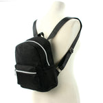 Mini Sparkly Backpack in Polyester, black color, side view